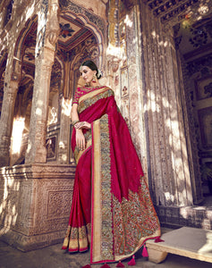 Magenta Banarasi Silk Latest Wedding Sarees Online Shopping