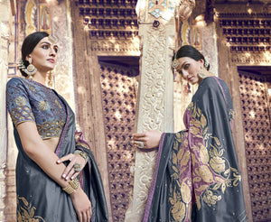 Grey And Dusty Lilac Banarasi Silk Beautiful Sarees Online