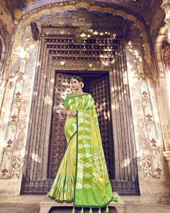 Light Green Banarasi Silk Indian Party Wear Traditional Sarees Online