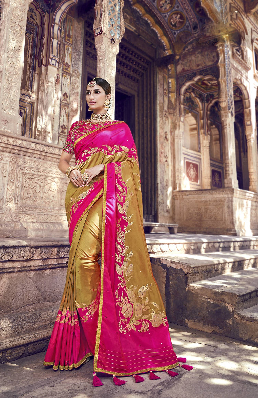 Beige And Fuchsia Banarasi Silk Fancy Sarees Buy Online