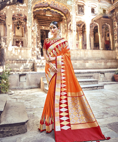 Orange Banarasi Pure Silk Sarees Online Shopping