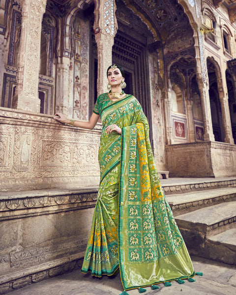 Light Green Banarasi Silk Wedding Sarees Online Shopping