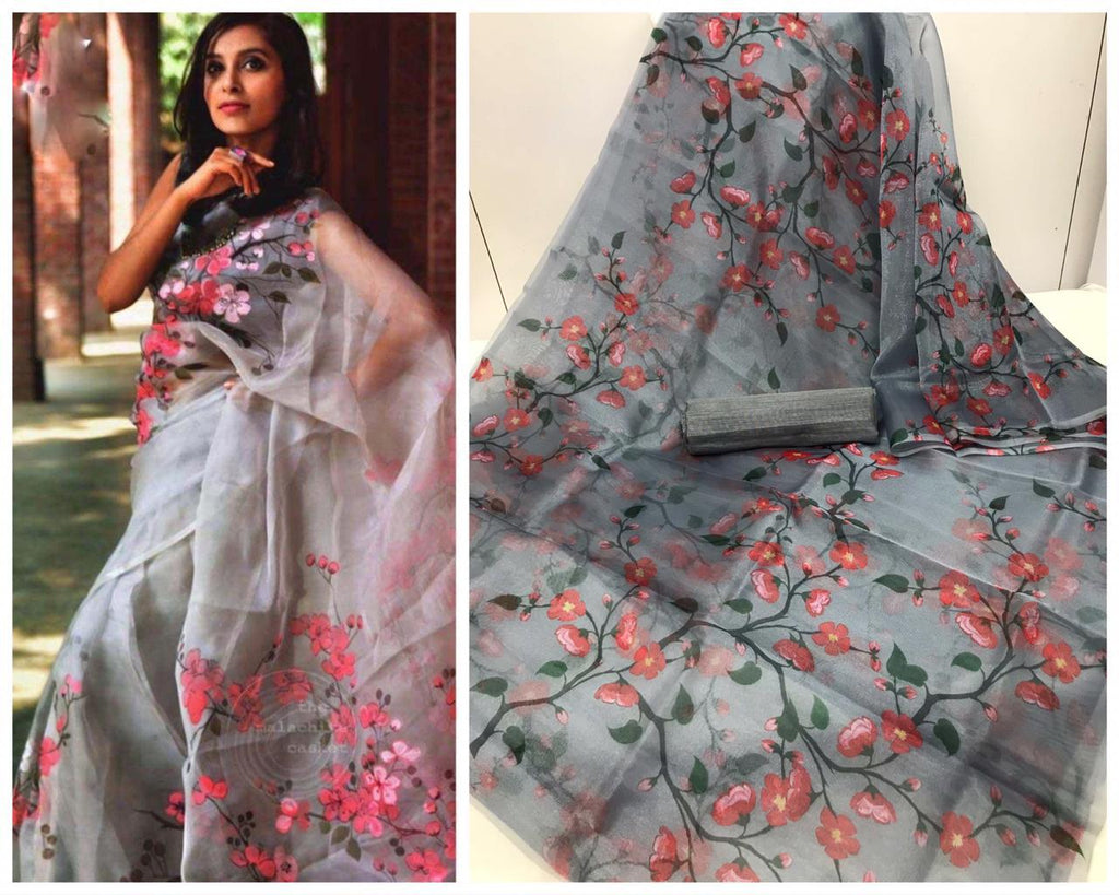 Grey color and Pink Floral Digital Printed Latest Organza Saree and Blouse Set