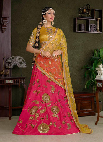 Hot Pink Silk Online Indian Lehenga Shopping