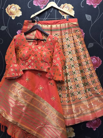 Hautecouture Banarasi Brocade Silk Lehenga with Red Crop Top Blouse