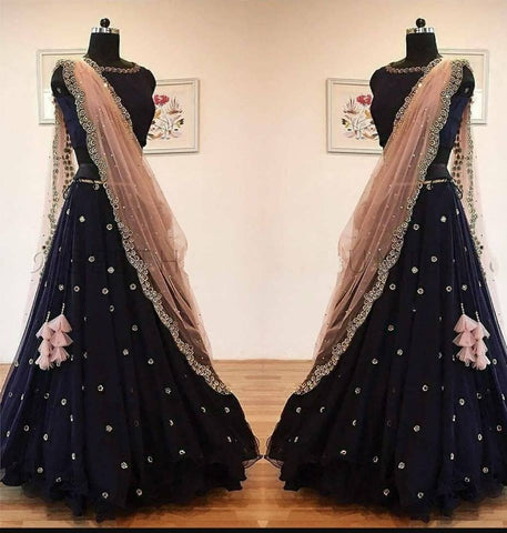Black Georgette Mirror Work New Lehenga Choli For Party Wear