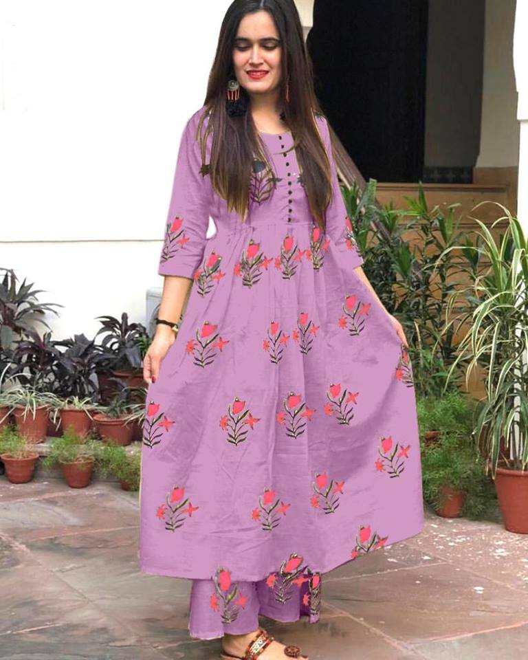 Rutba Khan Lilac Cotton Printed Kurtis Stylish Suits Online