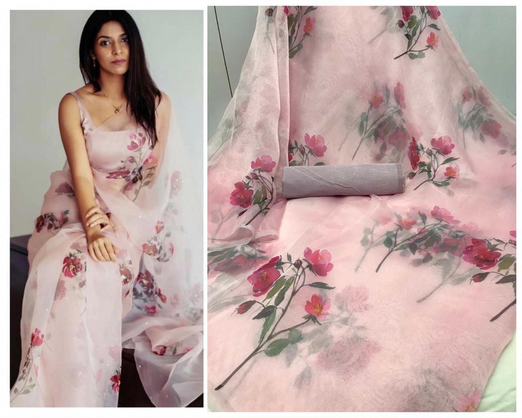 Light pink Rose Floral Digital Printed Latest Organza Saree and Blouse Set