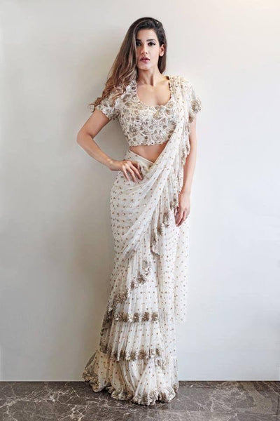 White Georgette Frill Ruffled Saree India Online Shopping