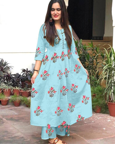 Rutba Khan Sky Blue Cotton Printed Kurtis Indian Clothes For Women