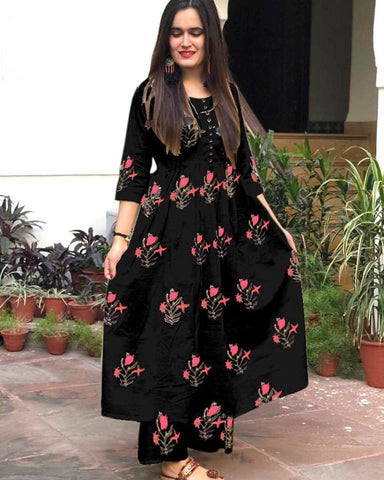 Rutba Khan Black Cotton Printed Kurtis New Style Indian Suits
