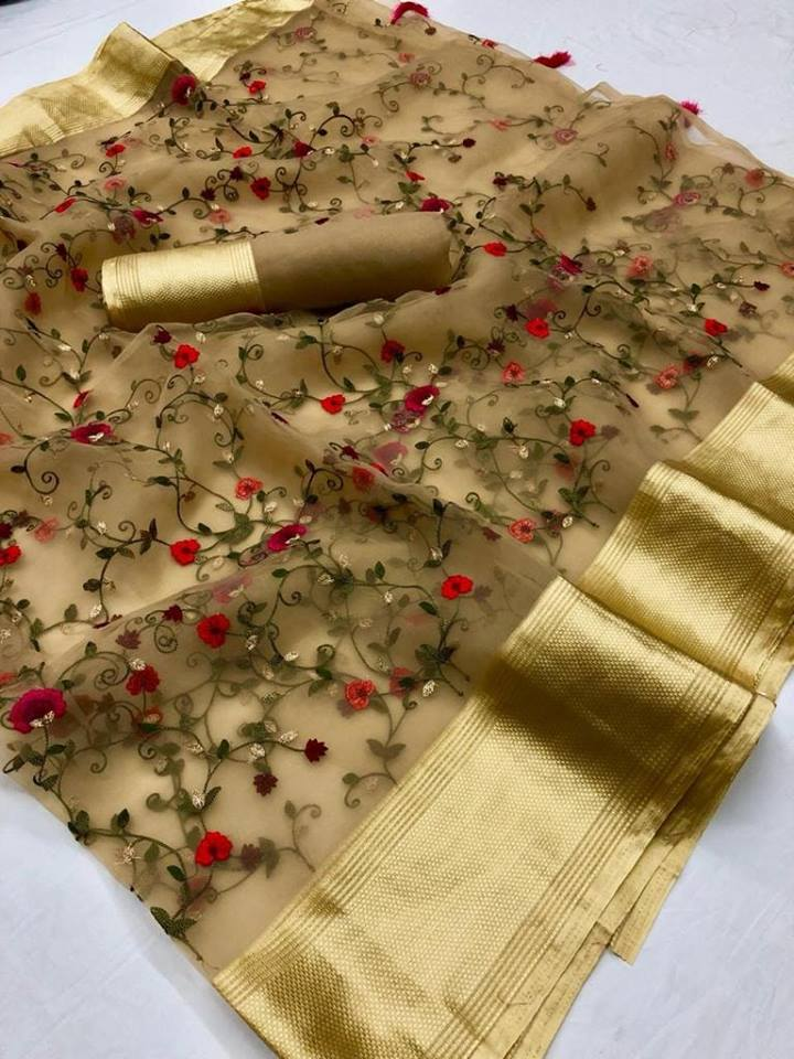 Embroidered Organza Latest Party Wear Trendy Sarees Online India