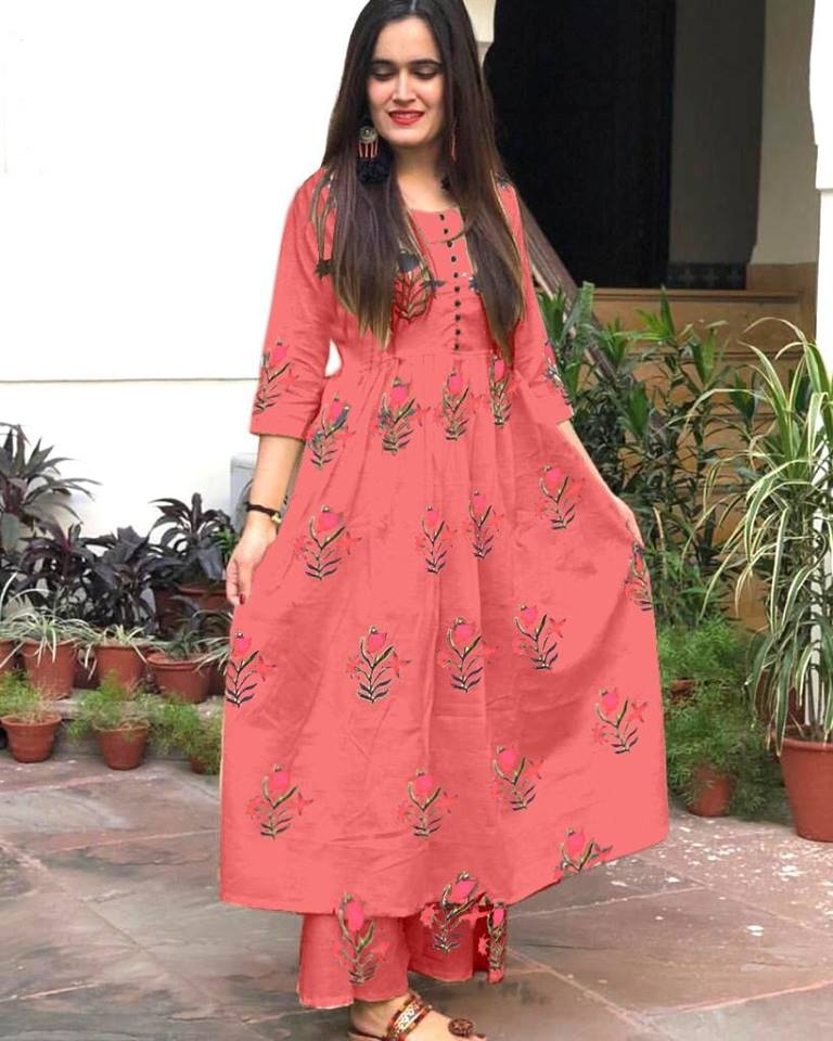 Rutba Khan Peach Cotton Printed Kurti Palazzo Indian Suits Online