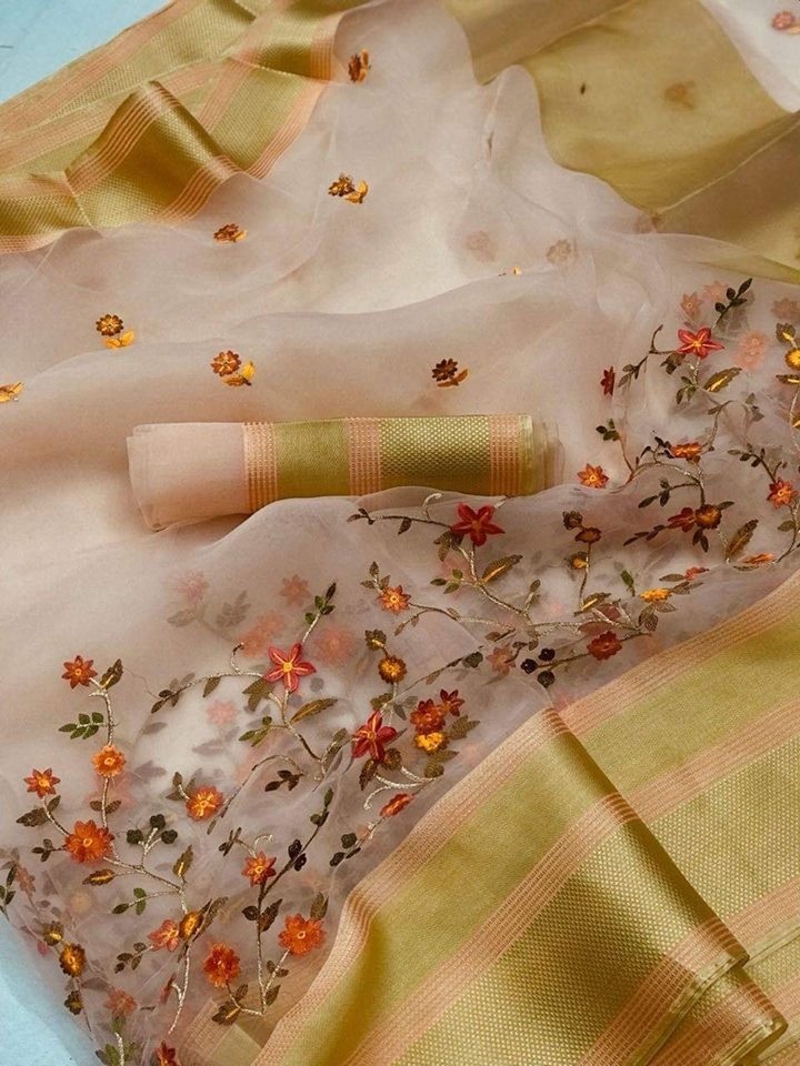 Light Peach Organza Party Wear Sarees Online India