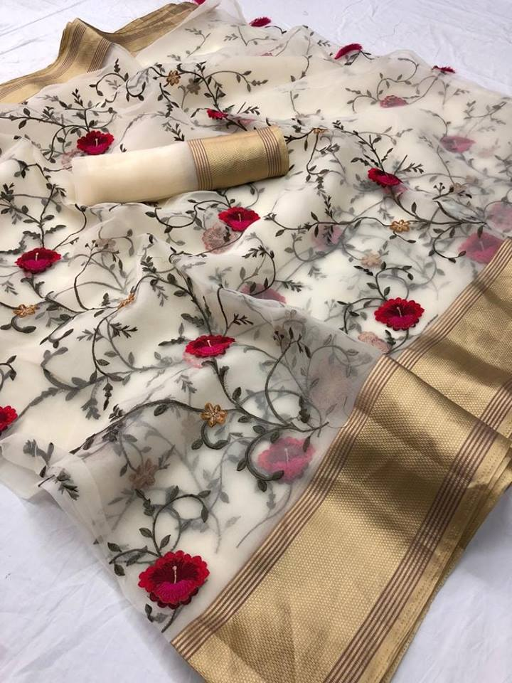 Floral Embroidered Organza Party Wear Sarees Online India