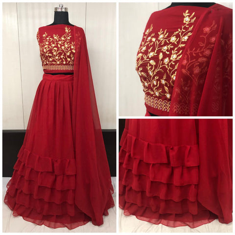 Maroon Georgette Ruffle Low Price Lehenga Choli Online Shopping