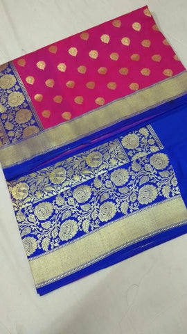 Pink And Blue Banarasi Silk Saree Online Clothes Shopping India