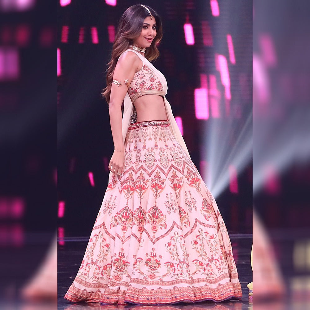 Shilpa Shetty Light Pink Digital Print Taffeta Silk Lehenga Choli Bollywood Designs