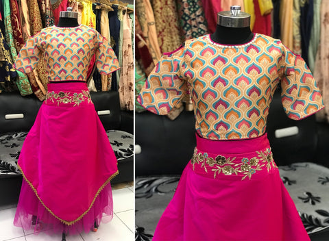 Stylish Deep Pink Net And Silk Kids Lehenga Blouse Online Shoping
