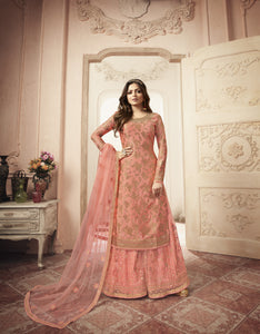 Drashti Dhami Peach Jacquard Indian Salwar Suits Designs