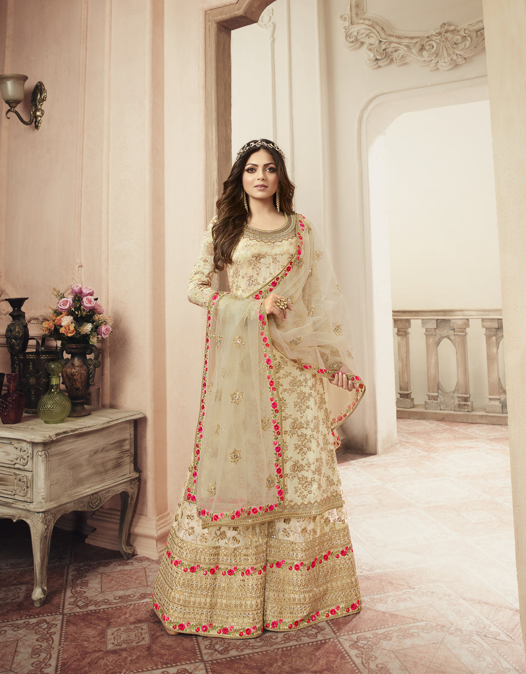 Drashti Dhami Beige Jacquard Indian Wedding Suits Salwar Kameez