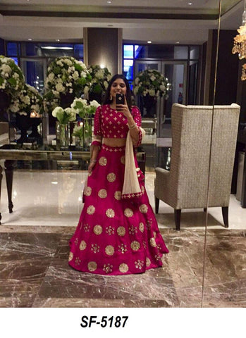 Dark Pink Lehenga Choli for Engagement and Wedding Parties with Can Can