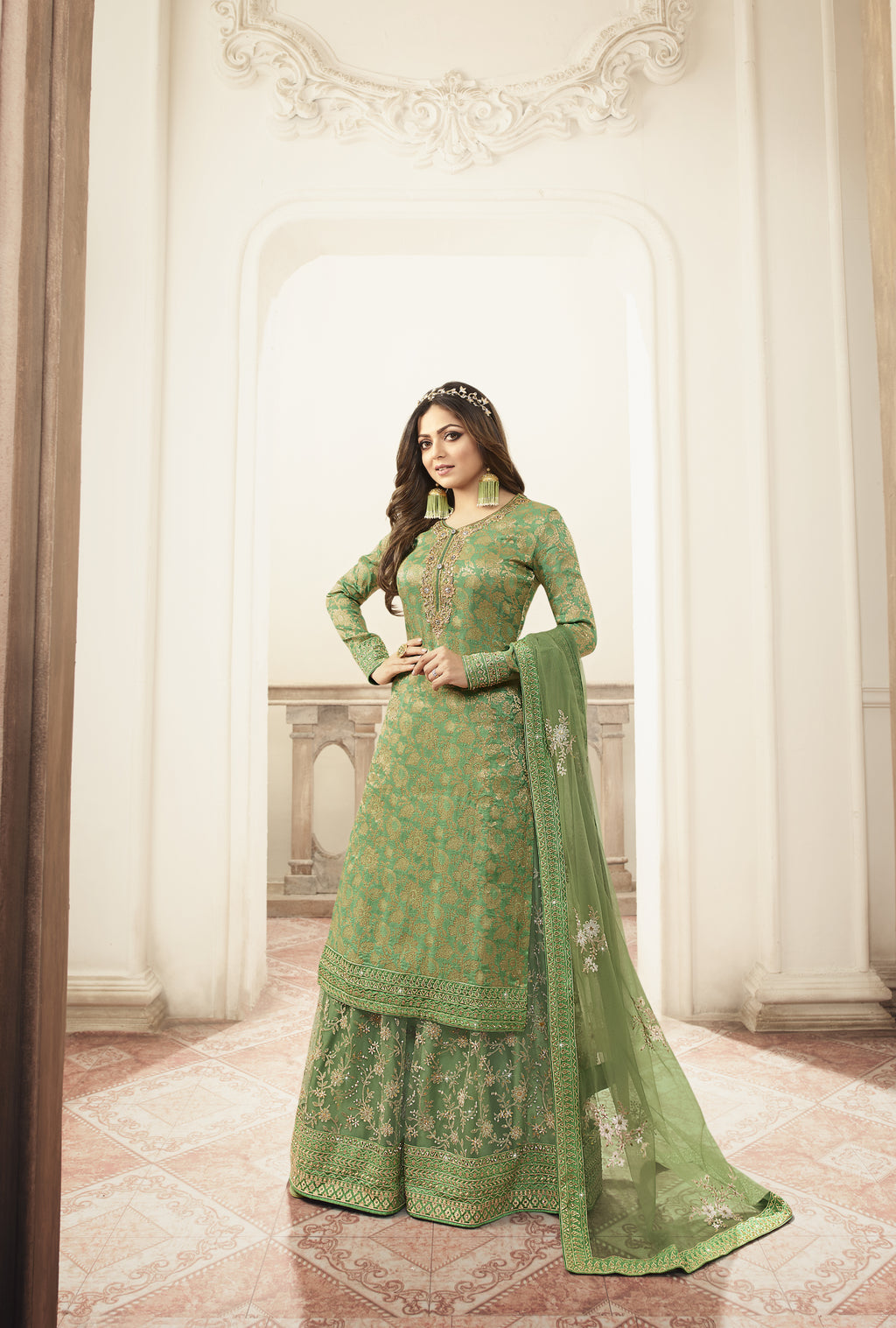 Drashti Dhami Green Silk Jacquard Palazzo Indian Suits Online