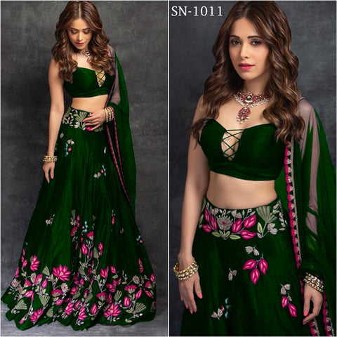Embroidered Green Taffeta Silk Party Wear Latest Lengha Choli Design