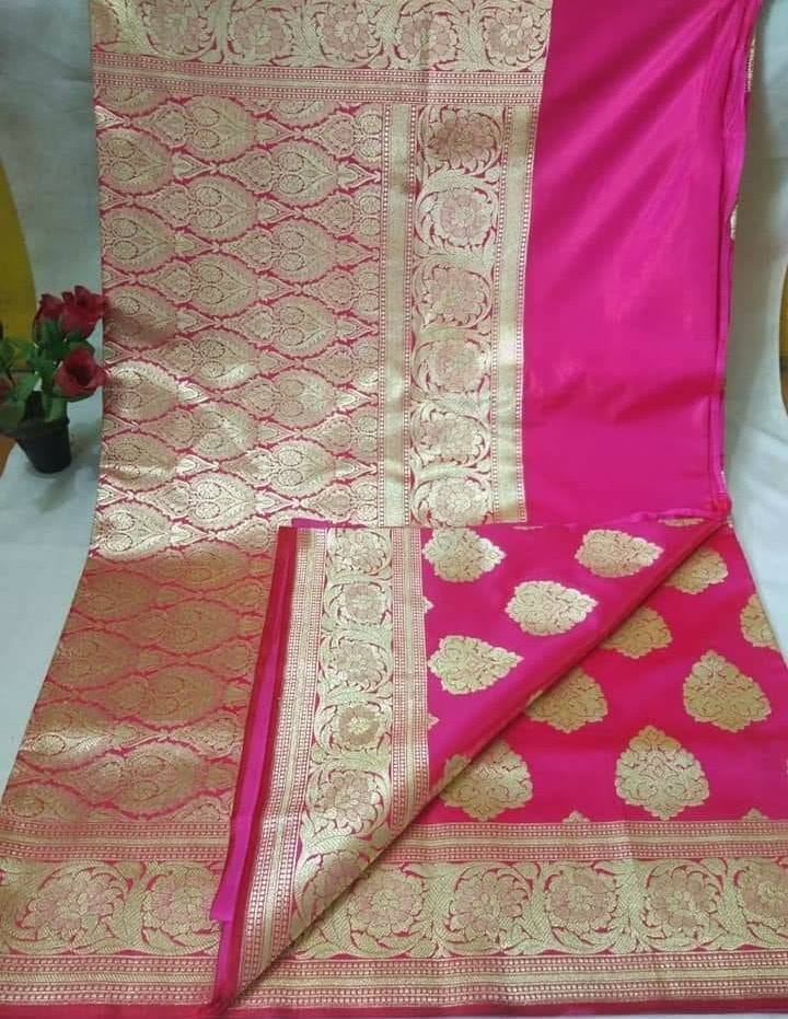 Pink Banarasi Silk Latest Indian Wear Saree Blouse Online