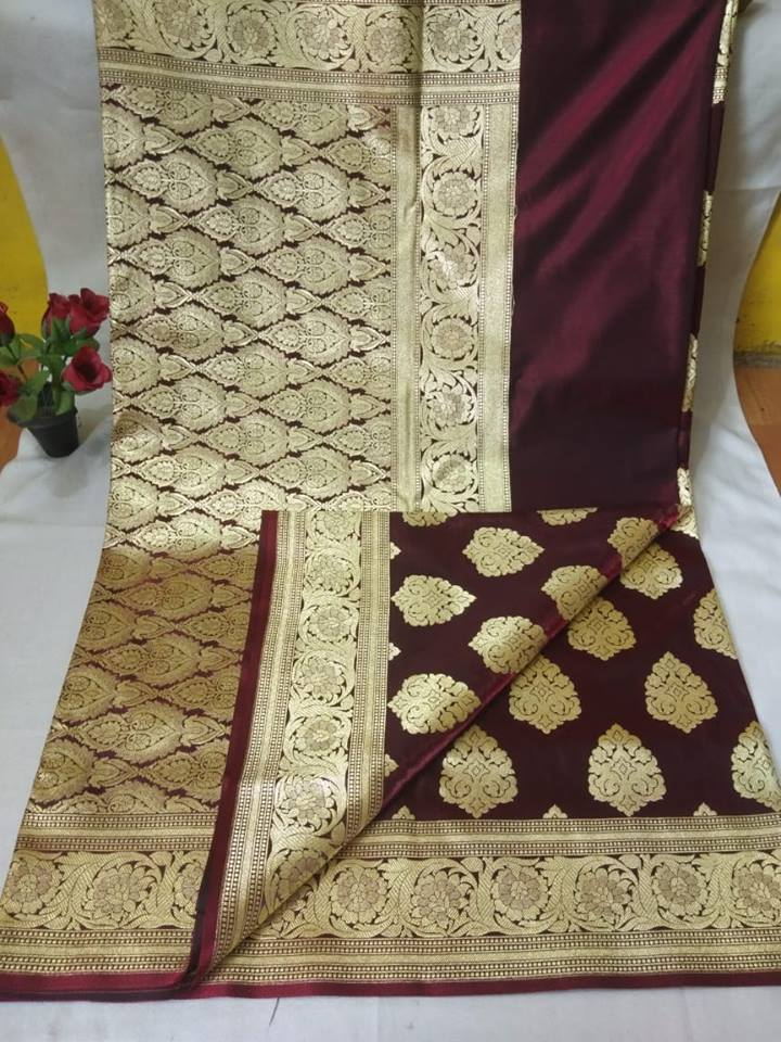 Deep Maroon  Banarasi Silk Indian Party Ladies Saree Online