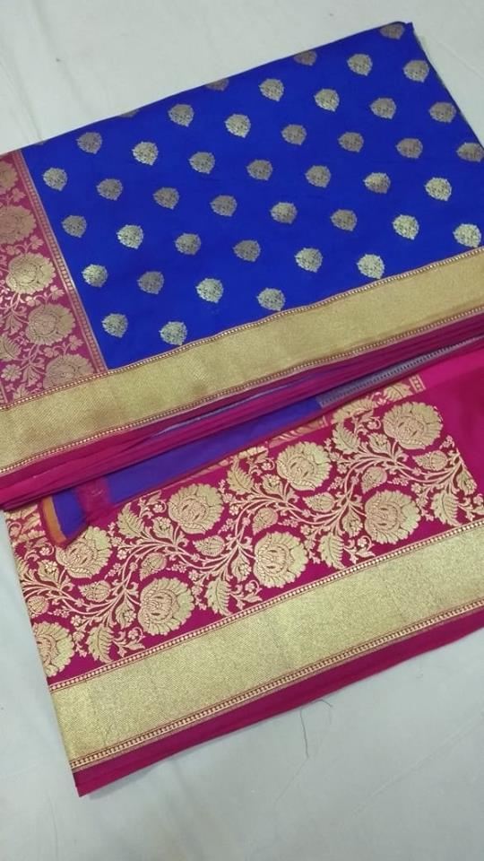 Blue And Pink Banarasi Silk Best Online Saree Shopping Sites Online