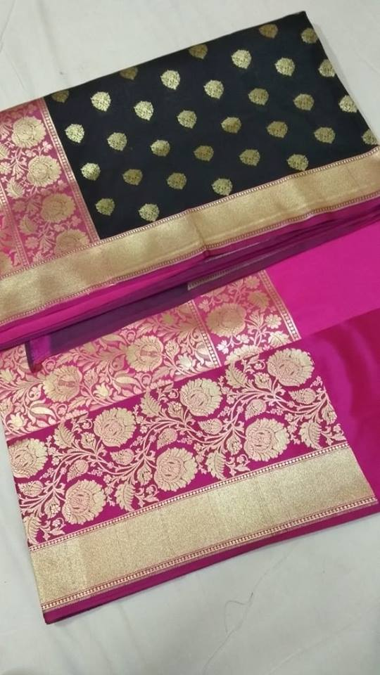 Black And Pink Banarasi Silk Fancy Saree With Price