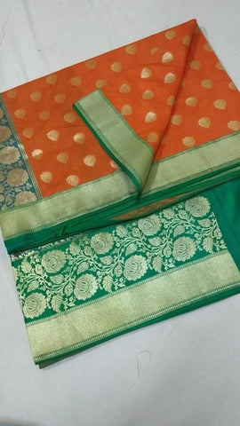Orange And Green Banarasi Silk Indian Traditional Saree Online