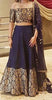 Navy Blue Silk And Brocade Latest Party Wear Lehenga
