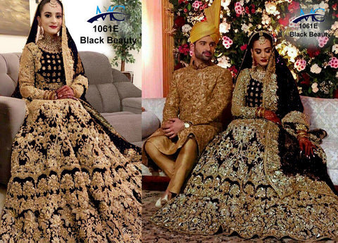 Black Velvet Heavy Embroidered Wedding Bridal Lehenga Choli Online