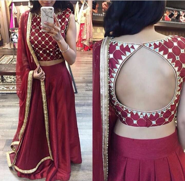 Maroon Mirror Work Chaniya Choli For Wedding