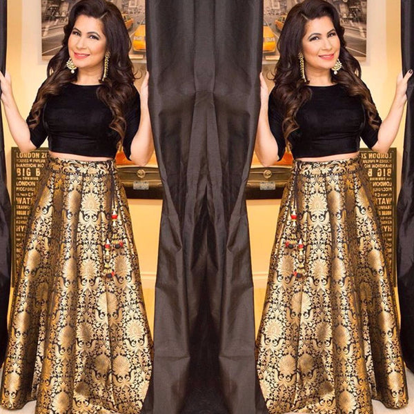 New Black Brocade Lehenga Choli Designs