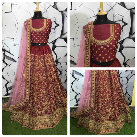 Maroon Embroidered Silk Wedding Wear Latest Lehenga Blouse Designs
