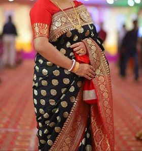 Black and Red Banarasi Silk Sarees for Wedding and Special Occasions