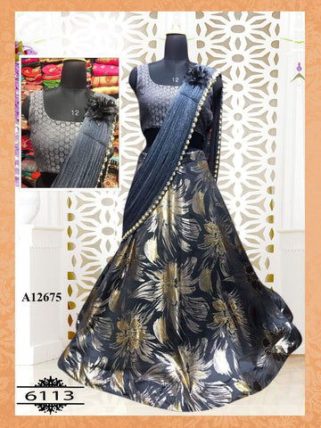 Stylish Gray Silk New Latest Lehenga Choli Online India