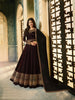 Brown Satin Georgette Long Anarkali Indian Dresses Online India