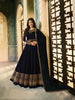 Navy Blue Satin Georgette Long Anarkali Indian Designer Clothes Online