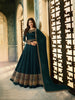 Teal Blue Satin Georgette Party Wear Anarkali Dresses Online