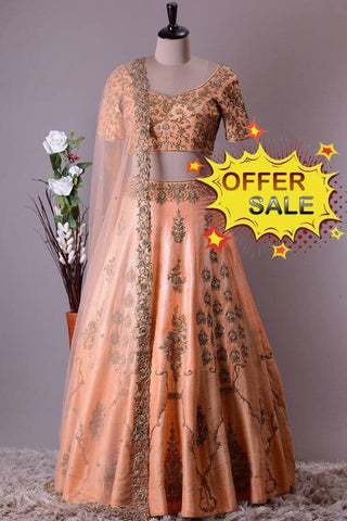 Peach Banarasi Silk Designer Lehenga Choli on Sale with Heavy Embroidery