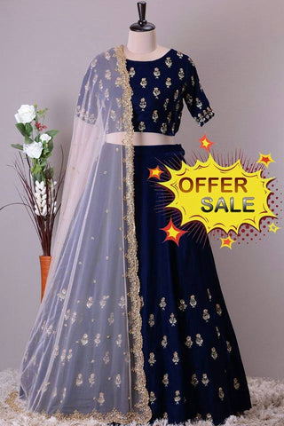 Dark Blue Banarasi Silk Designer Lehenga Choli on Sale
