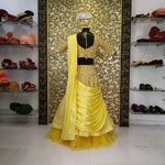 New Arrival Yellow Crop Top Party Wear Lehenga Choli Online
