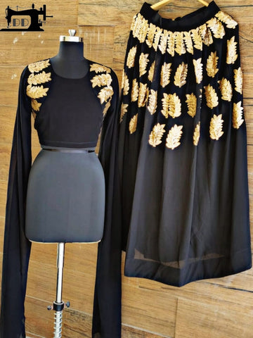 Black Sequins Worked Party Wear Latest Lehenga Cape Style
