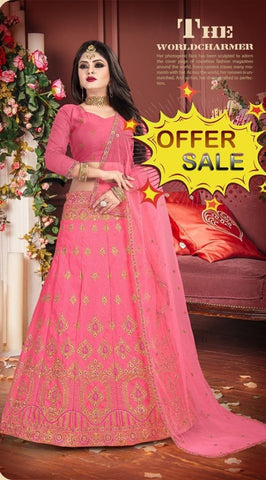 Pink Banarasi Silk Designer Lehenga Choli on Sale