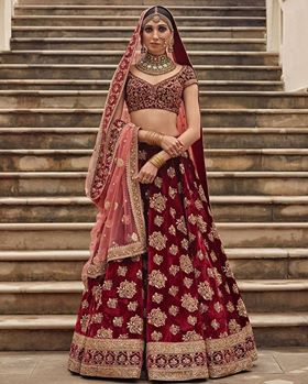 Maroon Velvet Silk Embroidered Latest Indian Ghagra Choli Online Buy
