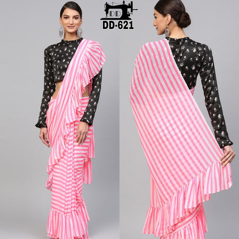 White And Pink Stripe Printed Georgette Latest Design Ruffle Saree Online Shop